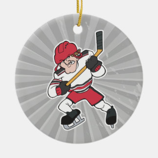 aggressive mean ice hockey player graphic ornaments
