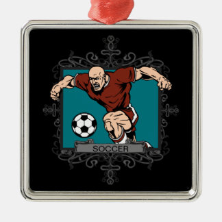 Aggressive Men's Soccer Ornament