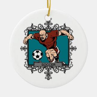 Aggressive Men's Soccer Round Ceramic Decoration