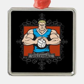 Aggressive Men's Volleyball Square Metal Christmas Ornament