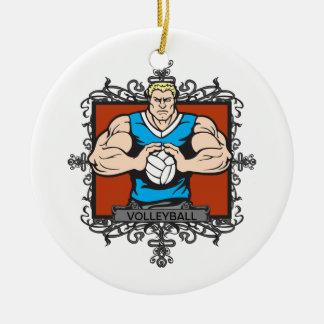 Aggressive Men's Volleyball Round Ceramic Decoration