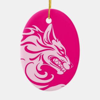 Aggressive Pink Tribal Wolf Ceramic Oval Decoration