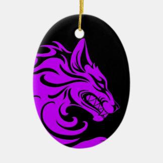Aggressive Purple and Black Tribal Wolf Ornament