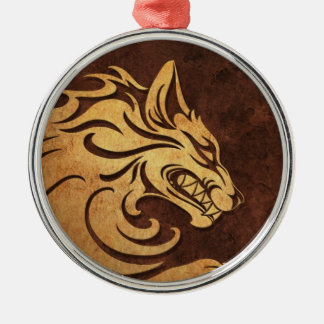 Aggressive Rough Stone Tribal Wolf Graphic Christmas Tree Ornament