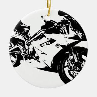 aggressive sport motorcycle round ceramic decoration