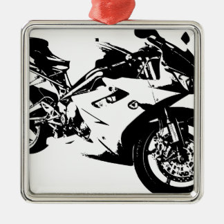 aggressive sport motorcycle Silver-Colored square decoration