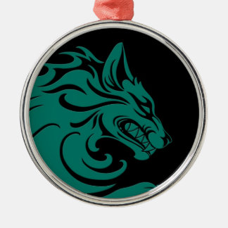 Aggressive Teal Blue and Black Tribal Wolf Ornament