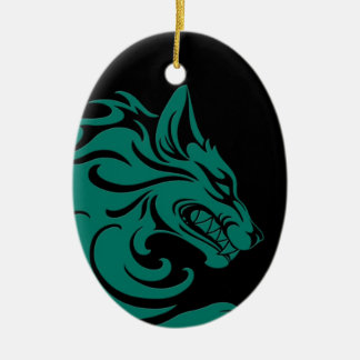 Aggressive Teal Blue and Black Tribal Wolf Ornaments