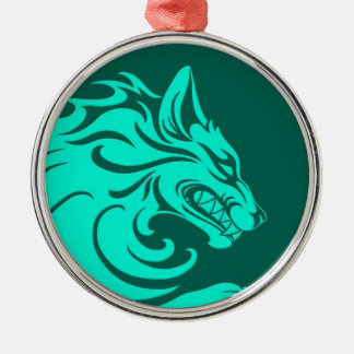 Aggressive Teal Blue Tribal Wolf Christmas Ornament