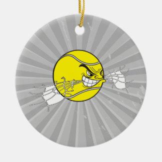aggressive tennis ball biting net graphic ornaments