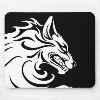 Aggressive White and Black Tribal Wolf Mouse Mat