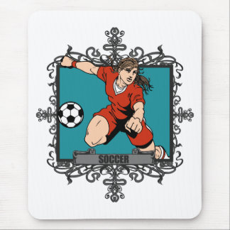 Aggressive Women's Soccer Mouse Pads