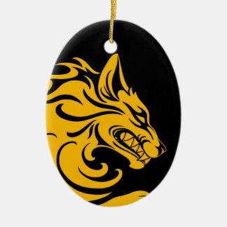 Aggressive Yellow and Black Tribal Wolf Ornament