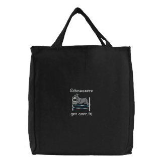 Agility Bar Jump Schnauzer Embroidered Tote Bag