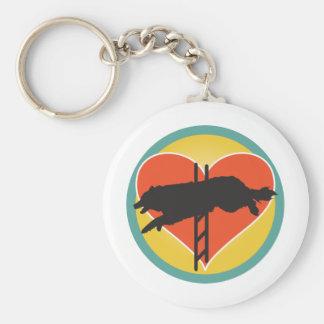 Agility Dog Heart Basic Round Button Key Ring