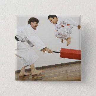 Agility exercise in karate class 15 cm square badge