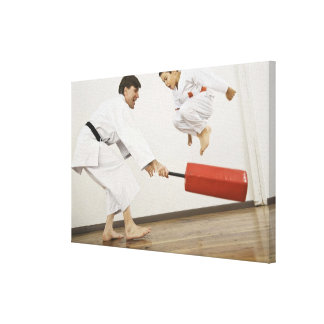Agility exercise in karate class stretched canvas prints