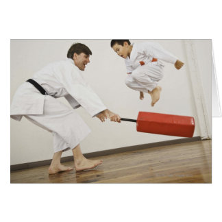 Agility exercise in karate class greeting card