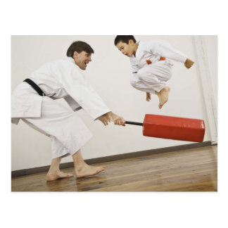 Agility exercise in karate class post card