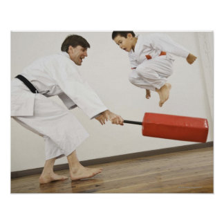 Agility exercise in karate class poster