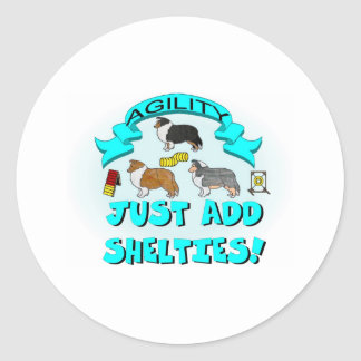 Agility - Just Add Shelties Classic Round Sticker