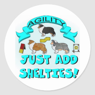Agility - Just Add Shelties Classic Round Sticker