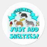 Agility - Just Add Shelties Round Sticker