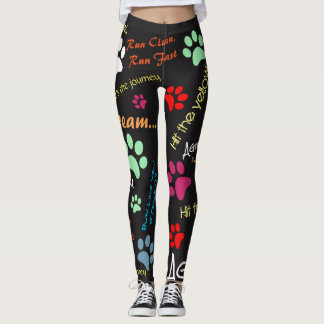 Agility quotes with multi colored paw prints leggings