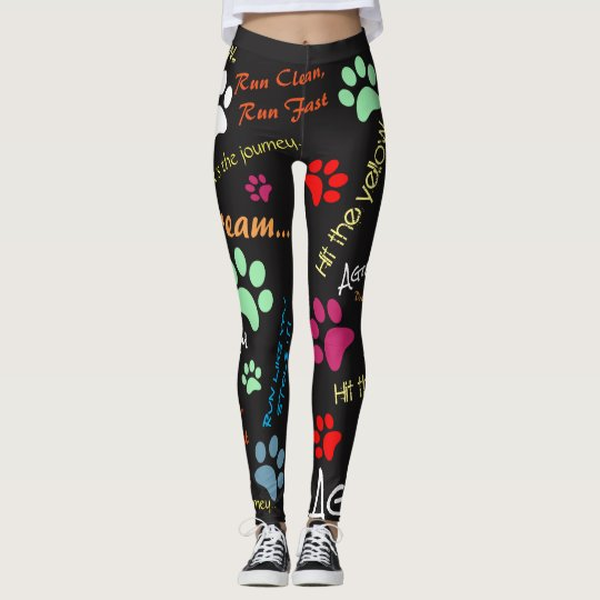 Agility quotes with multi coloured paw prints leggings