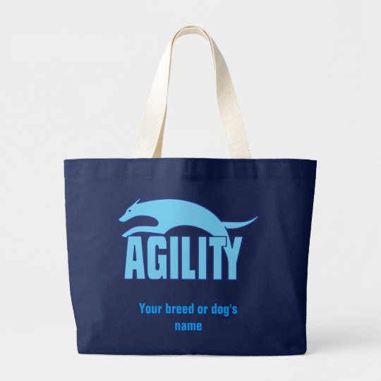Agility Stylised Design in Blue Large Tote Bag