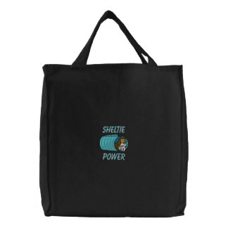 Agility Tunnel Sheltie Embroidered Tote Bag