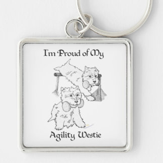 Agility Westie Silver-Colored Square Key Ring