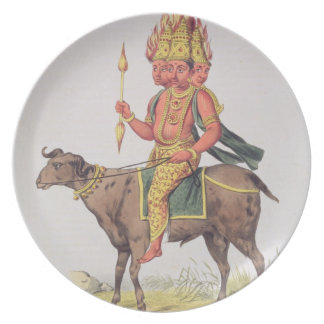 Agni, God of Fire, engraved by Charles Etienne Pie Plate