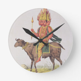 Agni, God of Fire, engraved by Charles Etienne Pie Round Clock