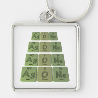 Agone-Ag-O-Ne-Silver-Oxygen-Neon Silver-Colored Square Key Ring