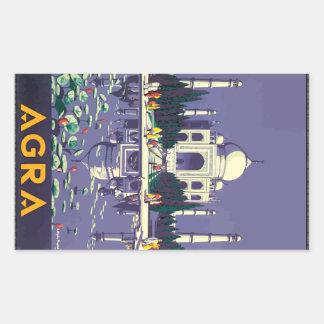 Agra, Vintage Rectangular Sticker