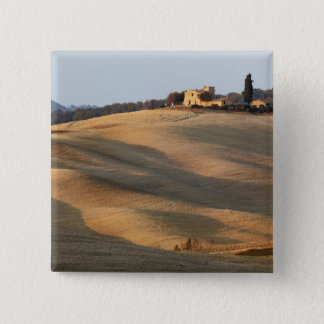 Agricultural field at sunset, Val d'Orcia, Tusca 15 Cm Square Badge