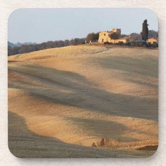 Agricultural field at sunset, Val d'Orcia, Tusca Beverage Coaster