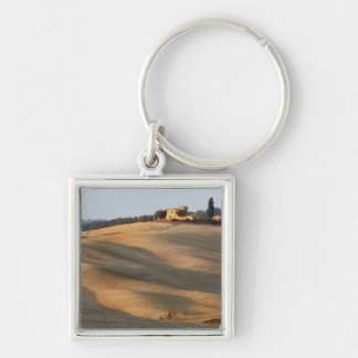 Agricultural field at sunset, Val d'Orcia, Tusca Key Ring