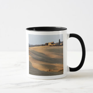 Agricultural field at sunset, Val d'Orcia, Tusca Mug