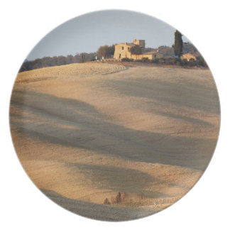 Agricultural field at sunset, Val d'Orcia, Tusca Plate