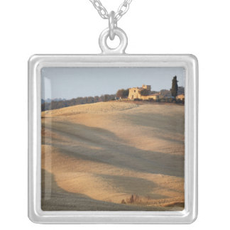 Agricultural field at sunset, Val d'Orcia, Tusca Silver Plated Necklace