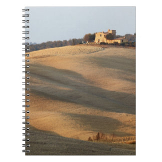 Agricultural field at sunset, Val d'Orcia, Tusca Spiral Notebook