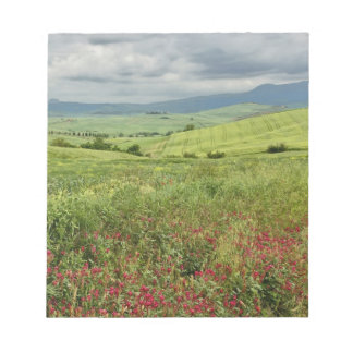 Agricultural field, Tuscany region of Italy. Notepad