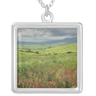 Agricultural field, Tuscany region of Italy. Silver Plated Necklace