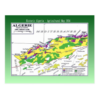 Agricultural Map, Algeria 1954 Postcard