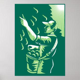 Agricultural Worker Fruit Picker Poster