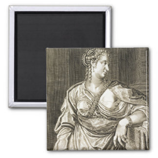 Agrippina wife of Tiberius (engraving) Square Magnet