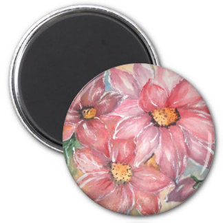aguarela flores 6 cm round magnet