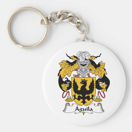 Aguila Family Crest Basic Round Button Key Ring